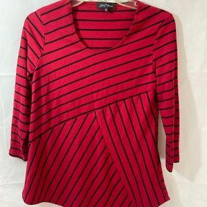 Slinky Mix-stripe Tunic Red